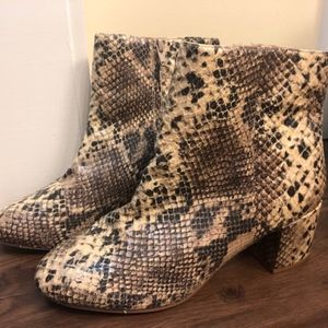 Faux Snake Ankle Boots